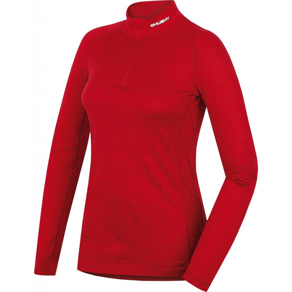 Dámské dlouhé triko merino se zipem HUSKY červená  + Sleva 5% - zadej v košíku kód: SLEVA5
