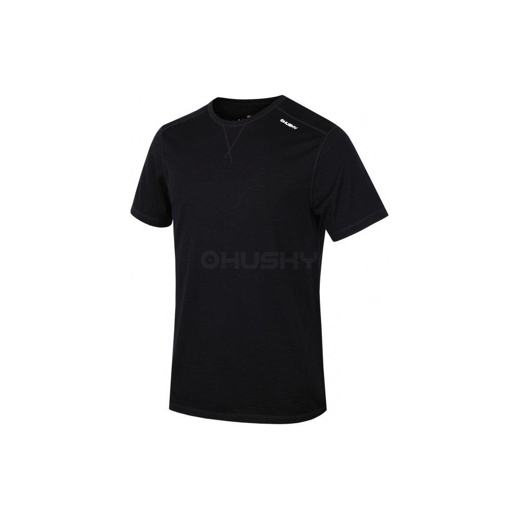 Pánské merino krátké triko HUSKY černá  + Sleva 5% - zadej v košíku kód: SLEVA5