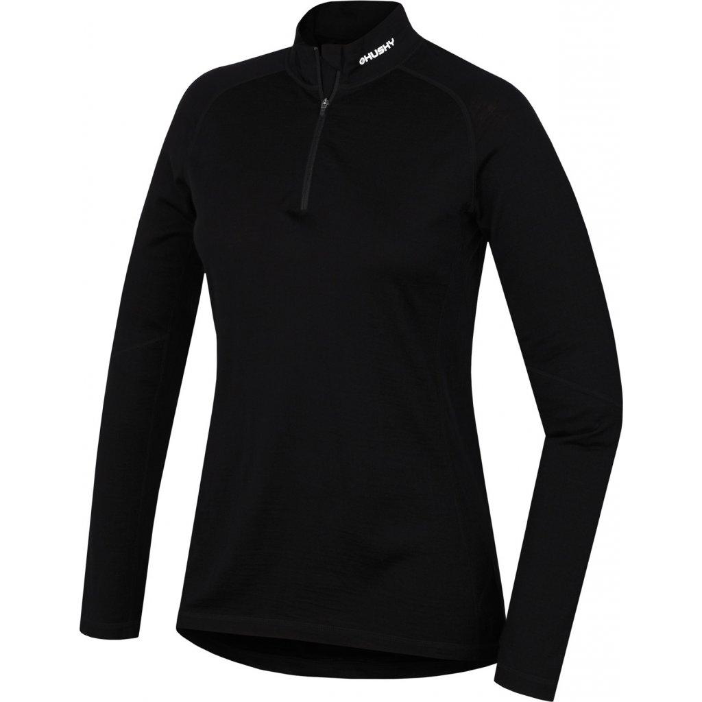 Dámské termo triko HUSKY Merino dlouhé se zipem černé
