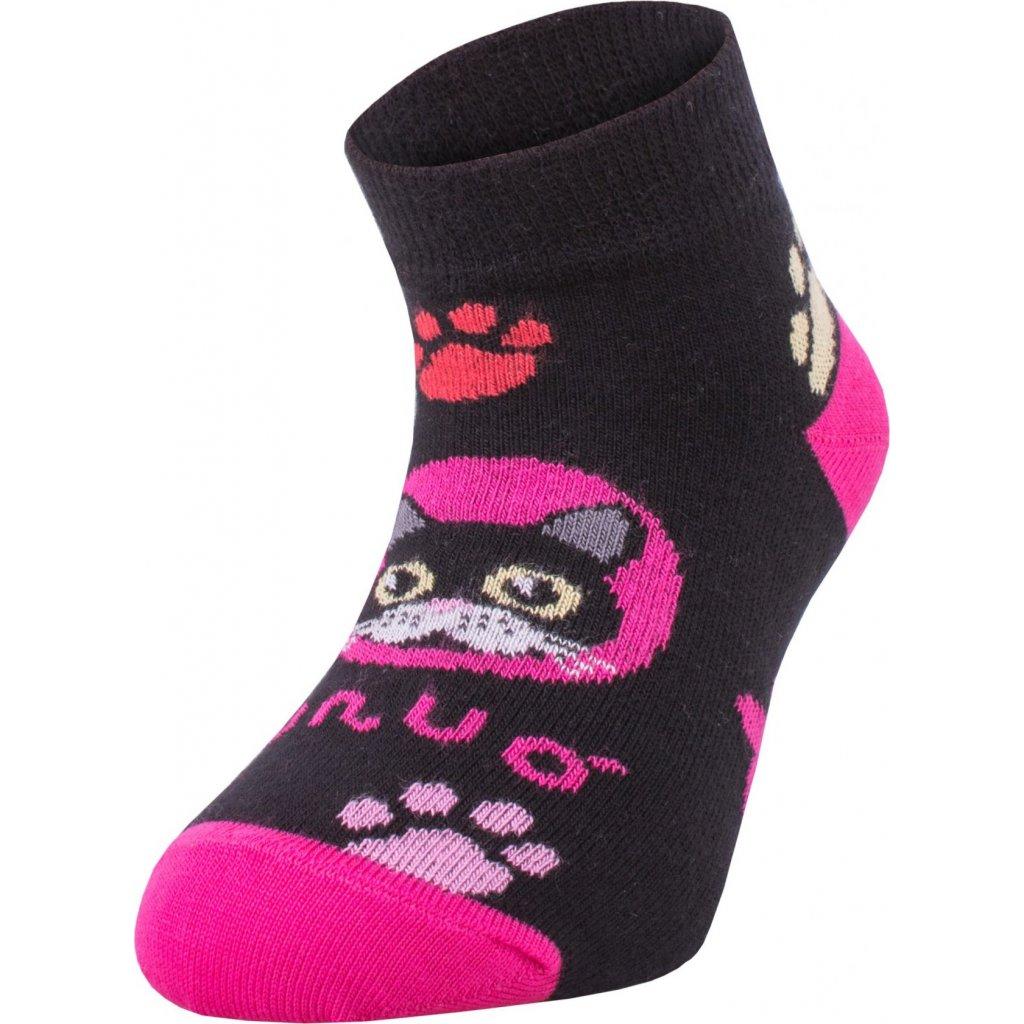 Bambusové kotníčkové ponožky UNUO Kočka růžové (Bamboo ankle socks printed)