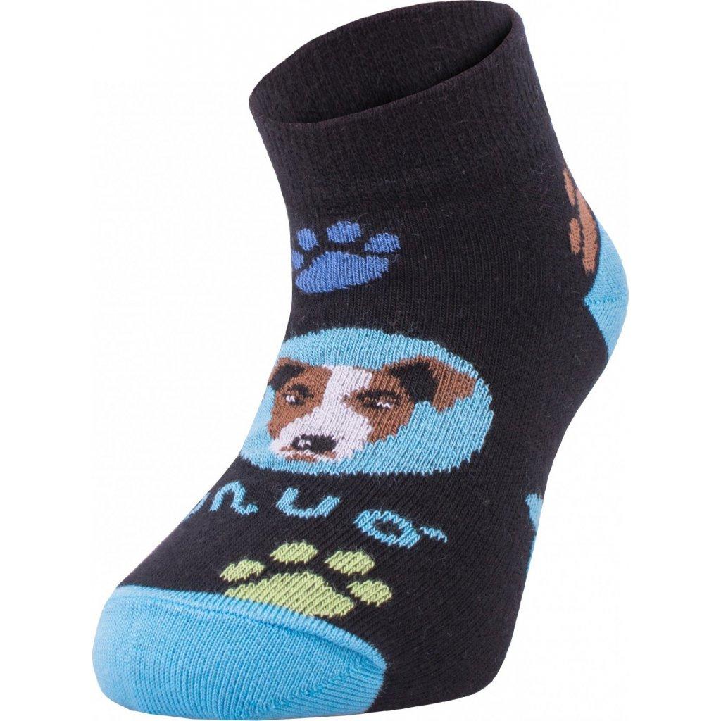 Bambusové kotníčkové ponožky UNUO Pes tyrkysové (Bamboo ankle socks printed)