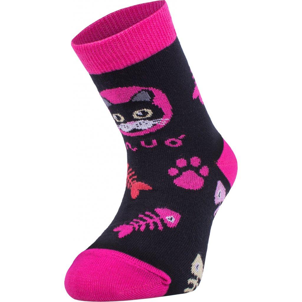 Bambusové ponožky UNUO Kočka růžové