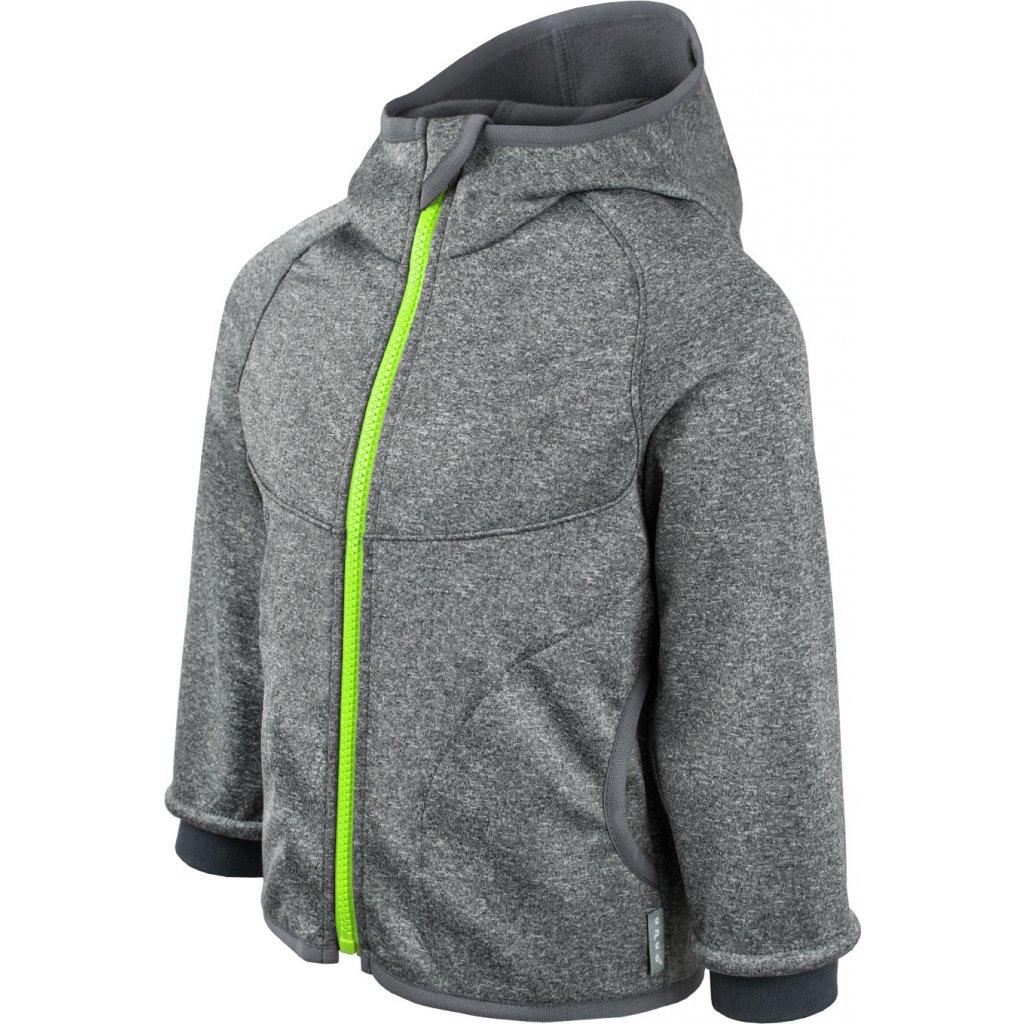 Dětská softshellová bunda s fleecem UNUO New melír šedý, zip limetkový + reflexní obrázek Evžen (Baby softshell jacket)