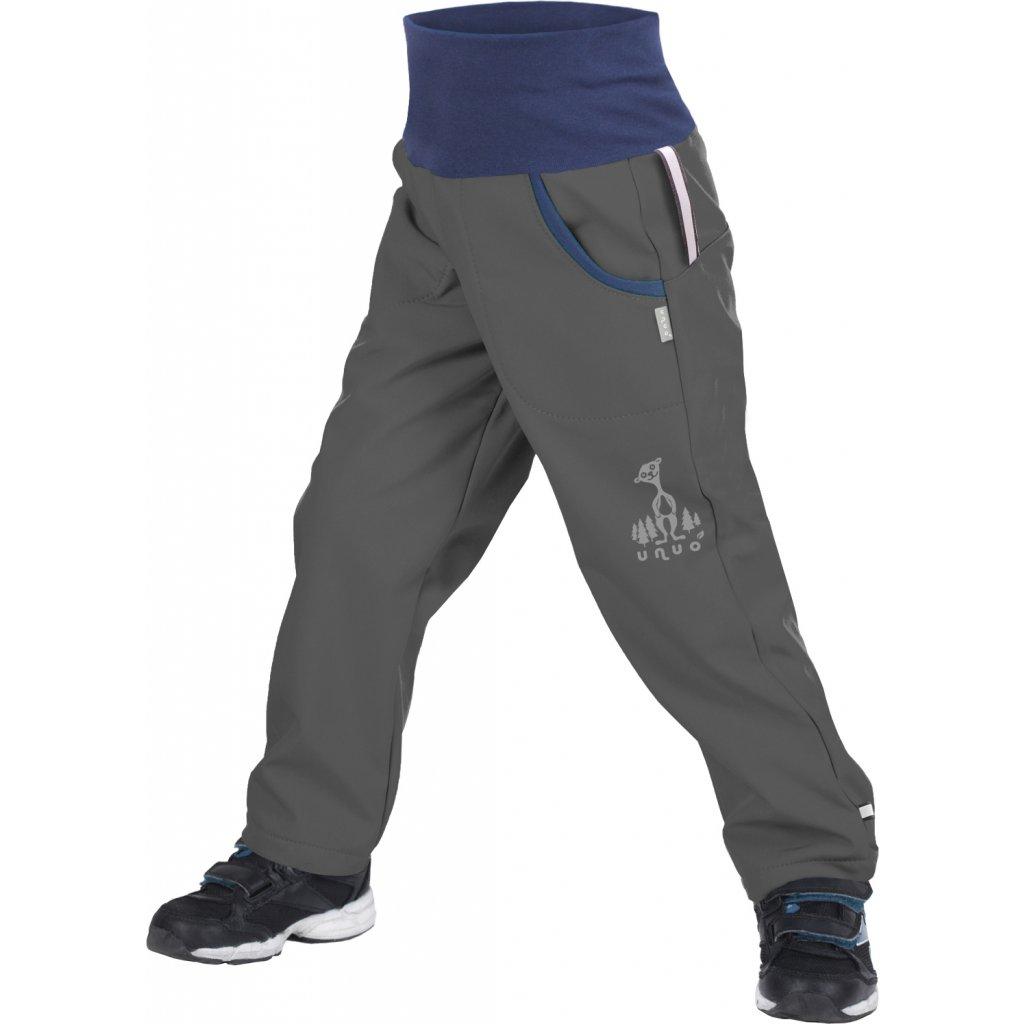 Dětské softshellové kalhoty UNUO s fleecem Antracitové + reflexní obrázek Evžen (Softshell kids trousers)