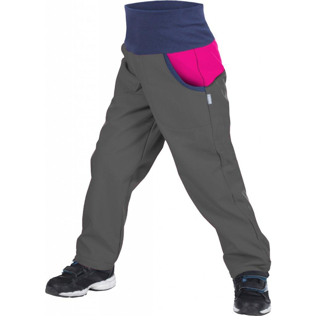 Dětské softshellové kalhoty UNUO s fleecem DUO Antracitové s Fuchsiovou (Softshell kids DUO trousers)
