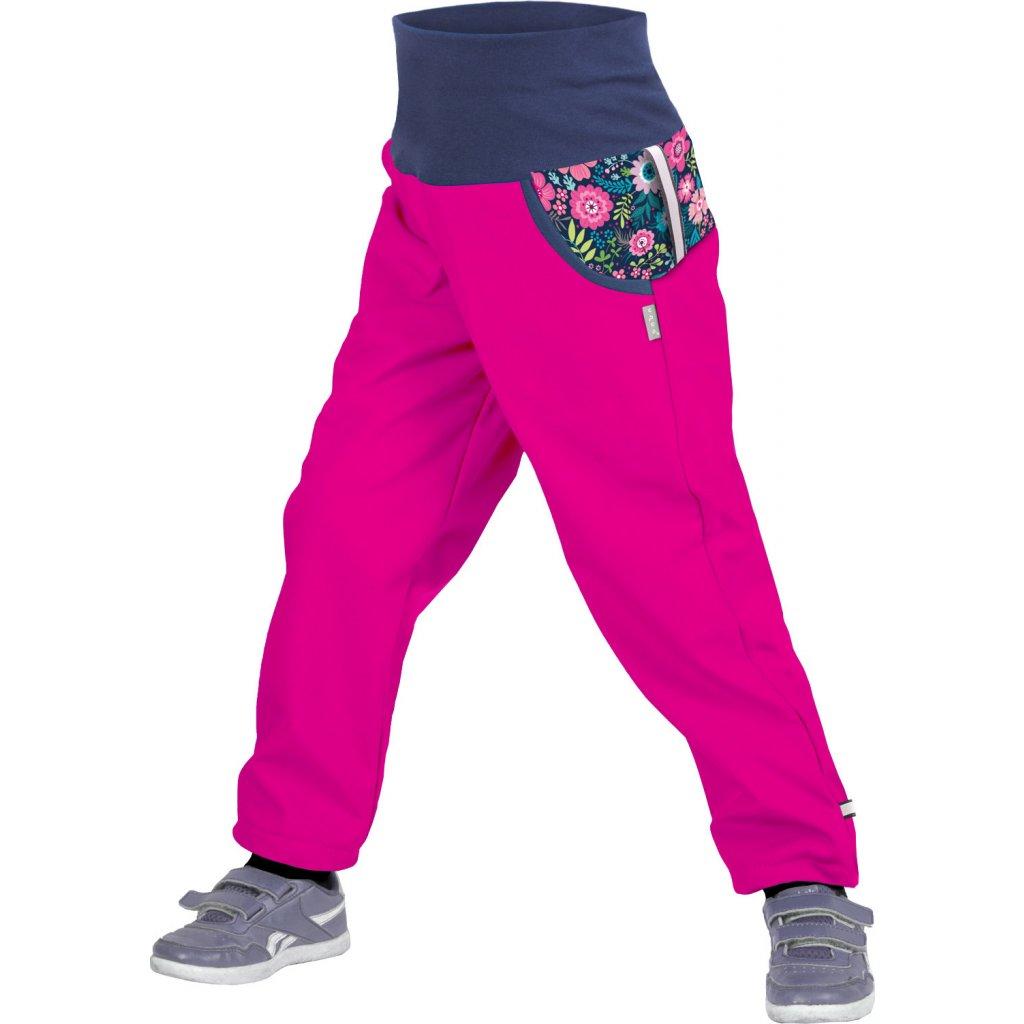 Dětské softshellové kalhoty UNUO s fleecem Květinky Fuchsiové (Softshell kids trousers)