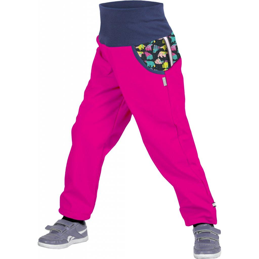 Dětské softshellové kalhoty UNUO s fleecem Souhvězdí medvěda Fuchsiové (Softshell kids trousers)