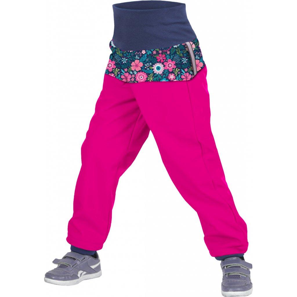 Batolecí softshellové kalhoty UNUO s fleecem Květinky fuchsiové (Softshell toodler trousers)