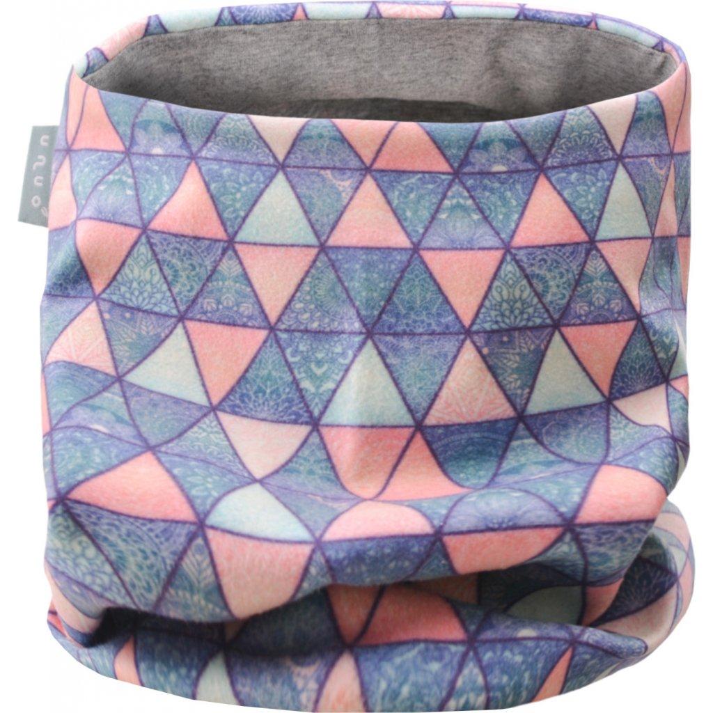 Dětský nákrčník UNUO UNI fleece Triangl mandaly (Unuo Neck tube fleece printed)