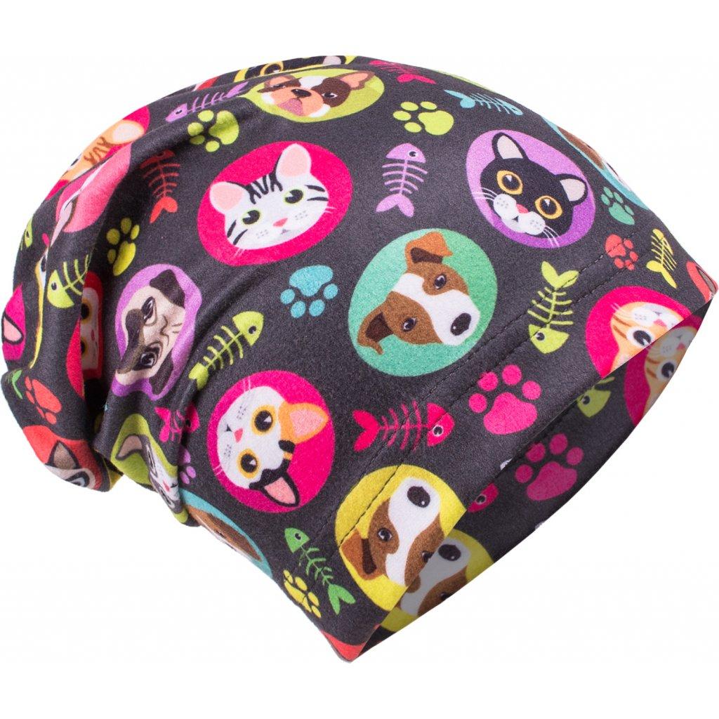 Dětská fleecová čepice UNUO Kočka a pes holka (Fleece cap)