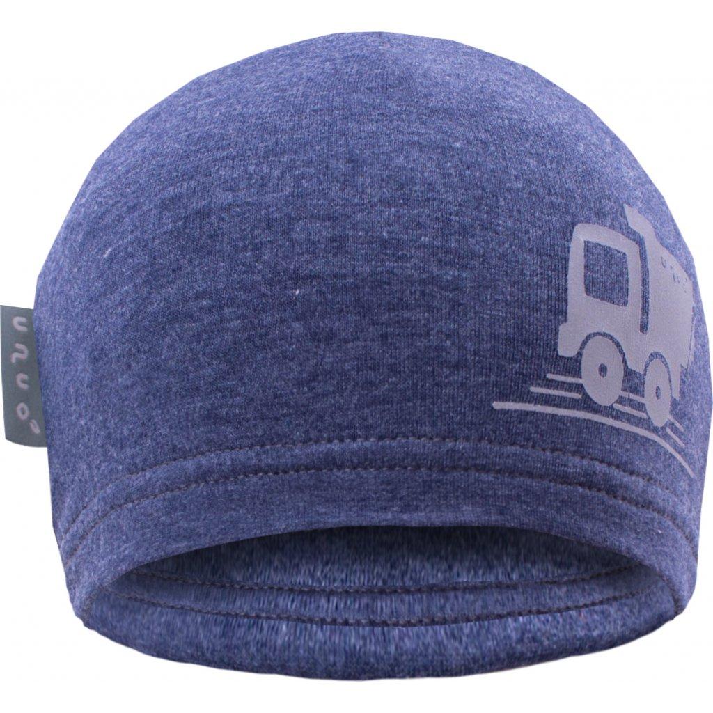 Dětská teplákovinová čepice UNUO Jeans modrý melír + REFLEXNÍ AUTÍČKO
