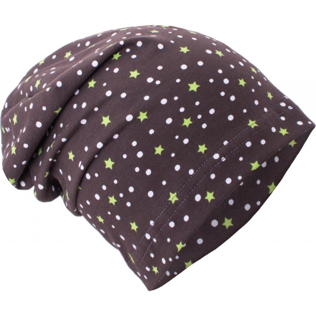 c86448080b0 Dětská úpletová čepice UNUO Hvězdičky a puntíky na hnědé