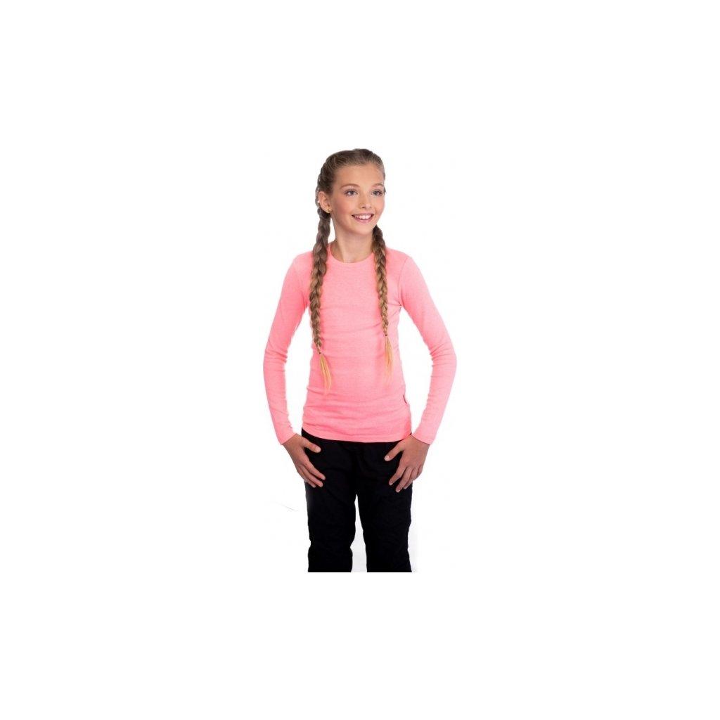 Dívčí triko SAM 73  s dlouhým rukávem růžová