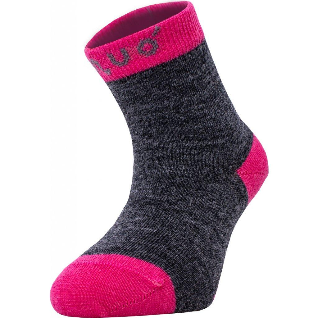 Merino ponožky UNUO šedý melír s fuchsiovou (Merino ankle socks)
