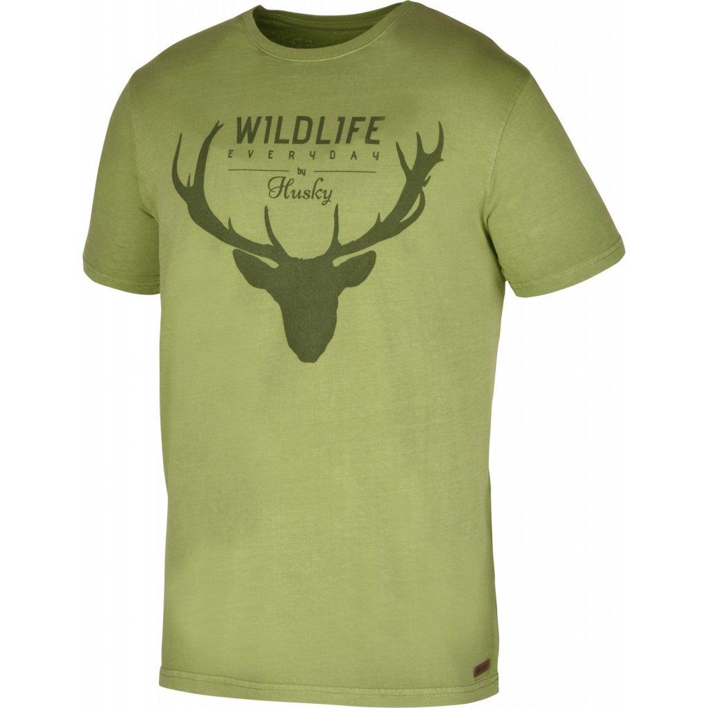 Pánské triko  HUSKY Deer M tm.zelená