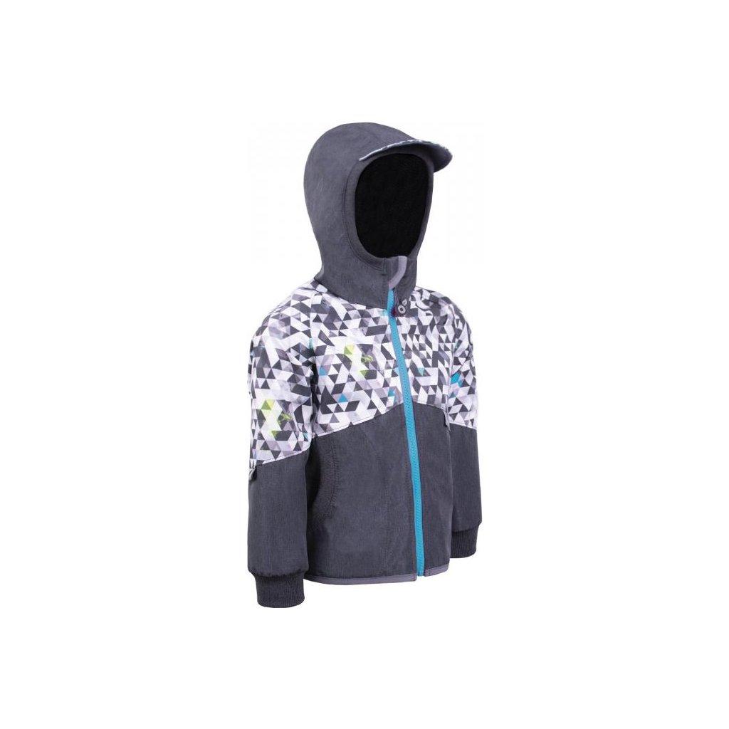 Softshellová bunda bez zateplení UNUO Street, žíhaná antracitová, metricon kluk