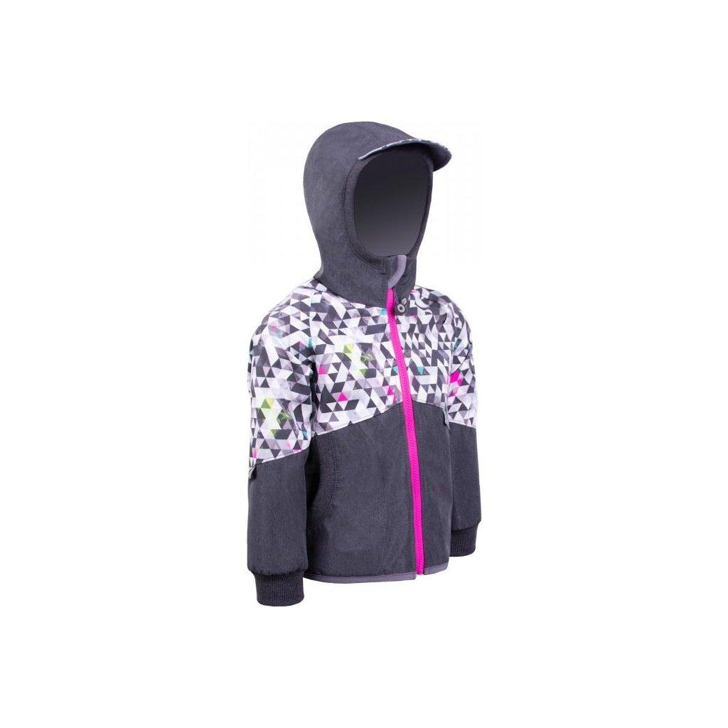 Dětská softshellová bunda  s fleecem UNUO Street, žíhaná antracitová, metricon holka
