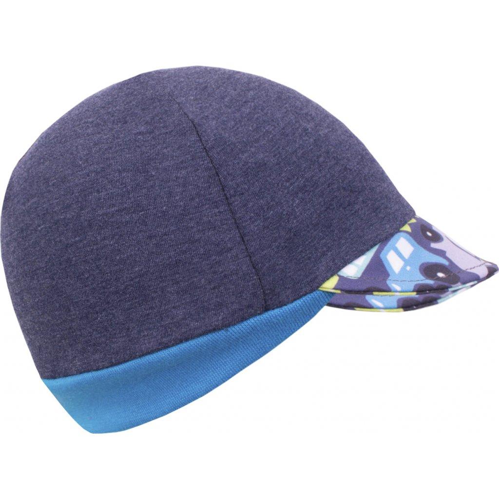 Teplákovinová čepice s kšiltem UNUO Street, Jeans temný, Autíčka