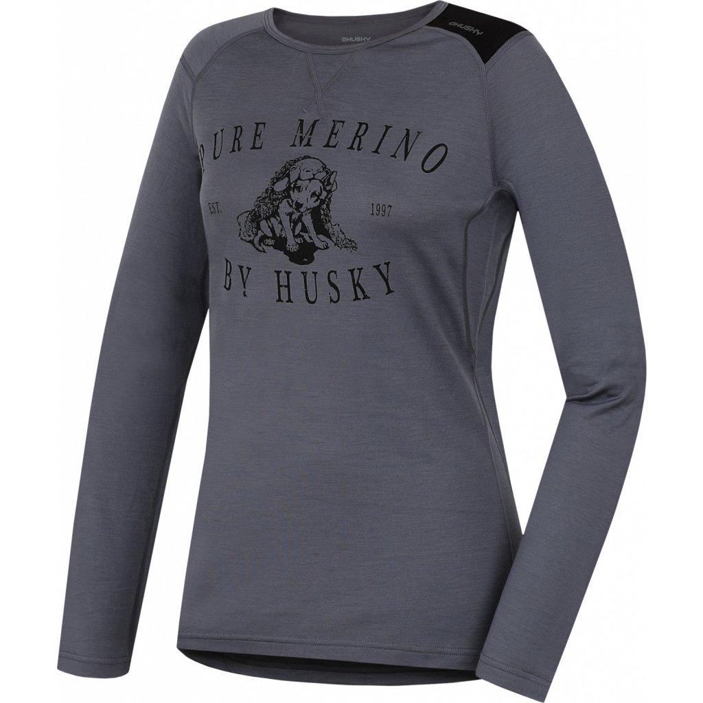 Dámské triko HUSKY Merino termoprádlo dlouhé Puppy šedá