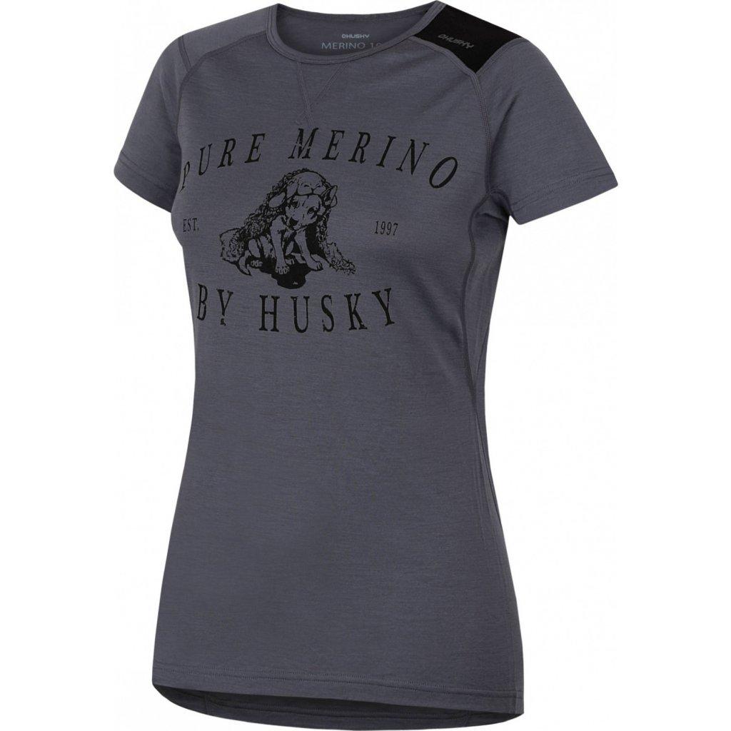 Dámské triko HUSKY Merino termoprádlo krátké Puppy šedá