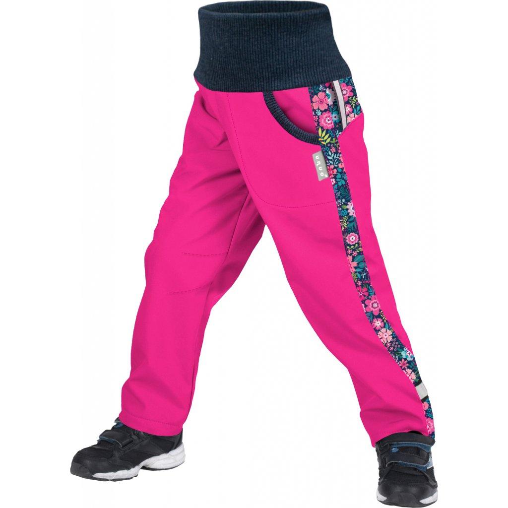 Dětské softshellové kalhoty UNUO s fleecem Street, Fuchsiová, Květinky