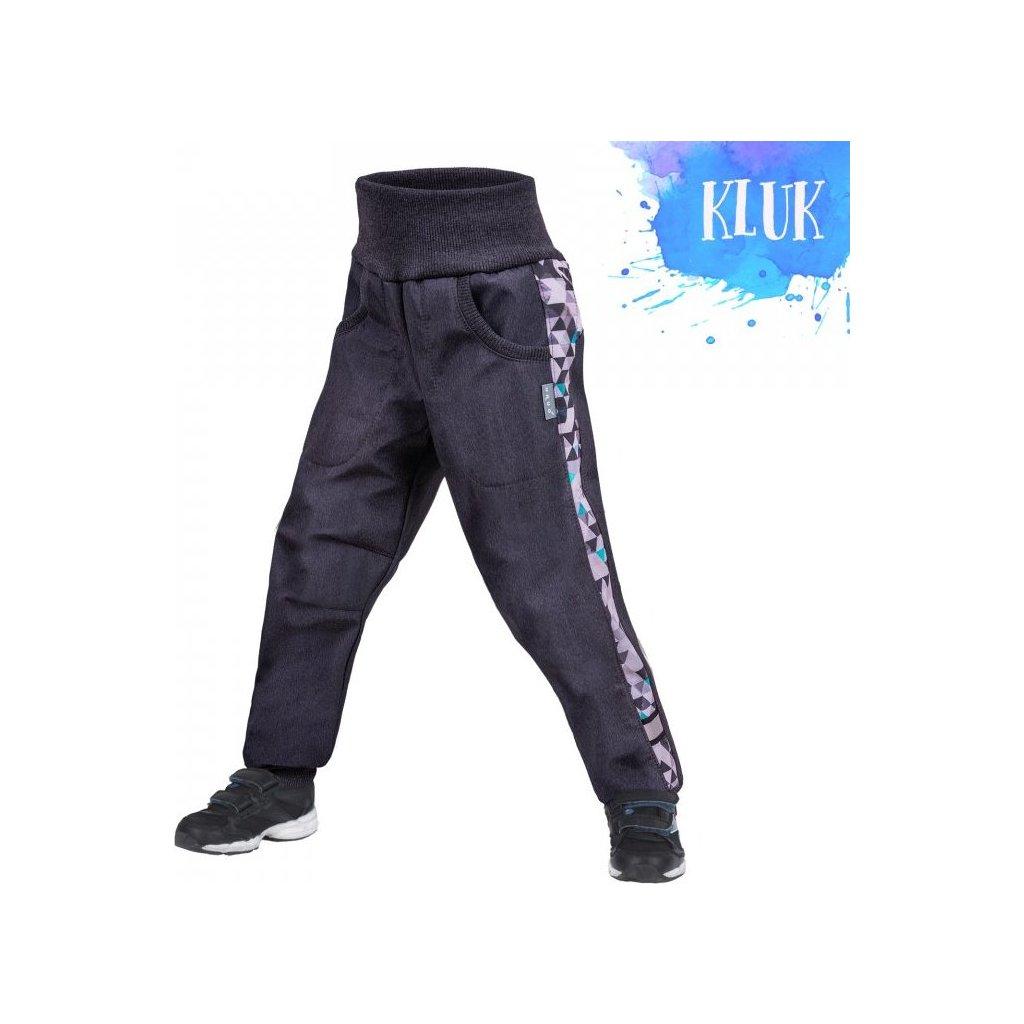 Dětské softshellové kalhoty UNUO s fleecem Street, Žíhaná antracitová, Metricon kluk