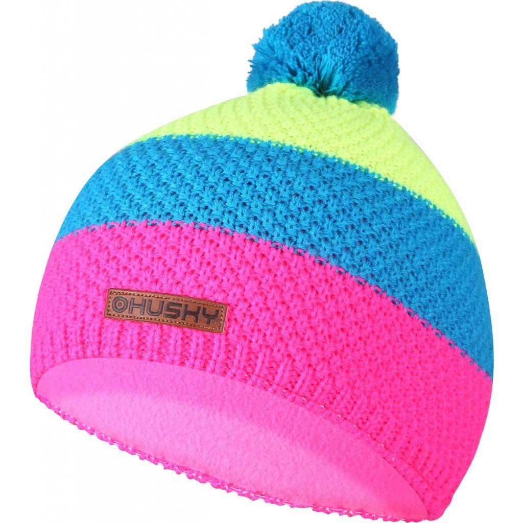 Dětská čepice HUSKY Cap 34 černá/neon růžová