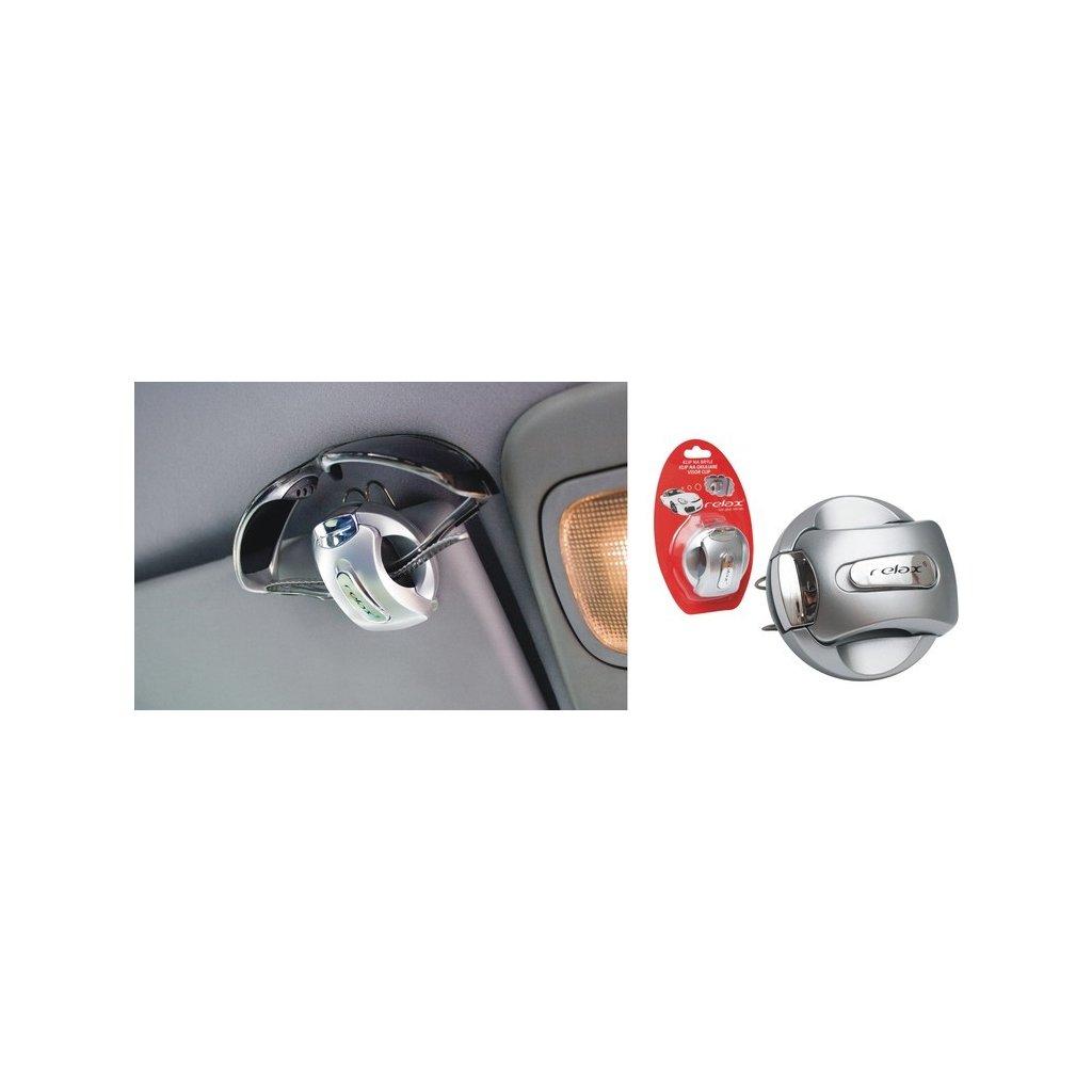 Držák na brýle na stínítko do auta RELAX stříbrná
