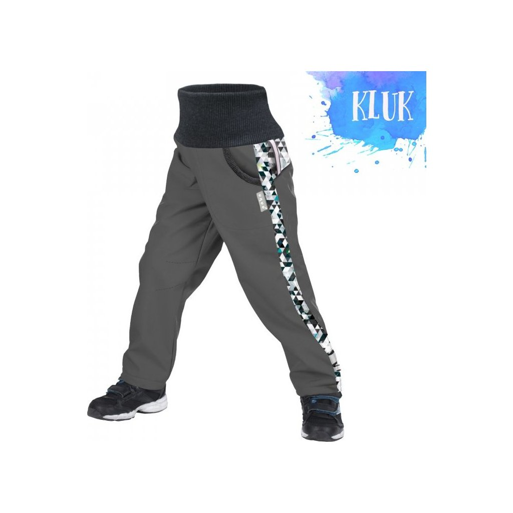 Dětské softshellové kalhoty UNUO s fleecem Street, Tm. šedá, Metricon kluk