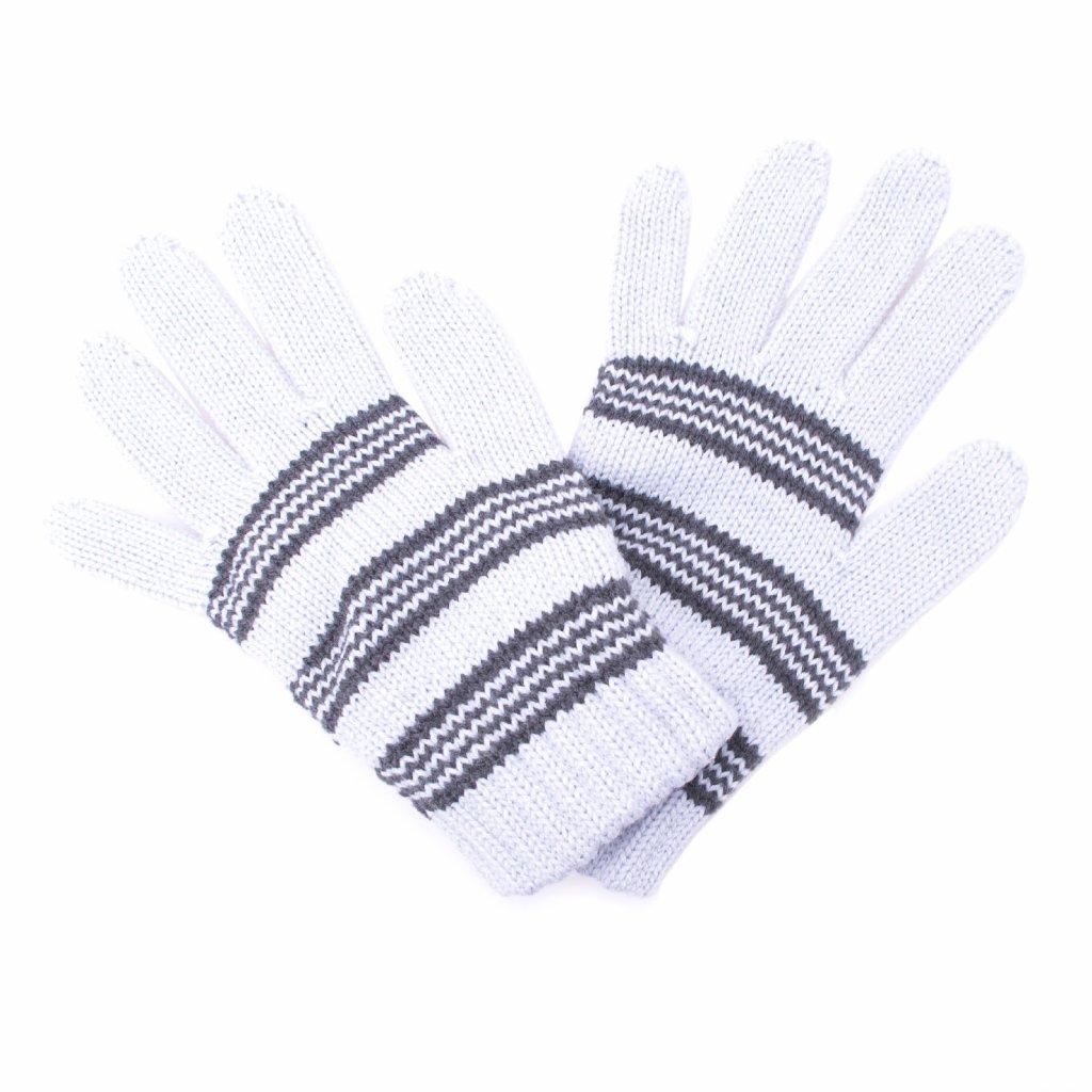 Dětské zimní rukavice UNUO Pletex Světle šedá s proužky