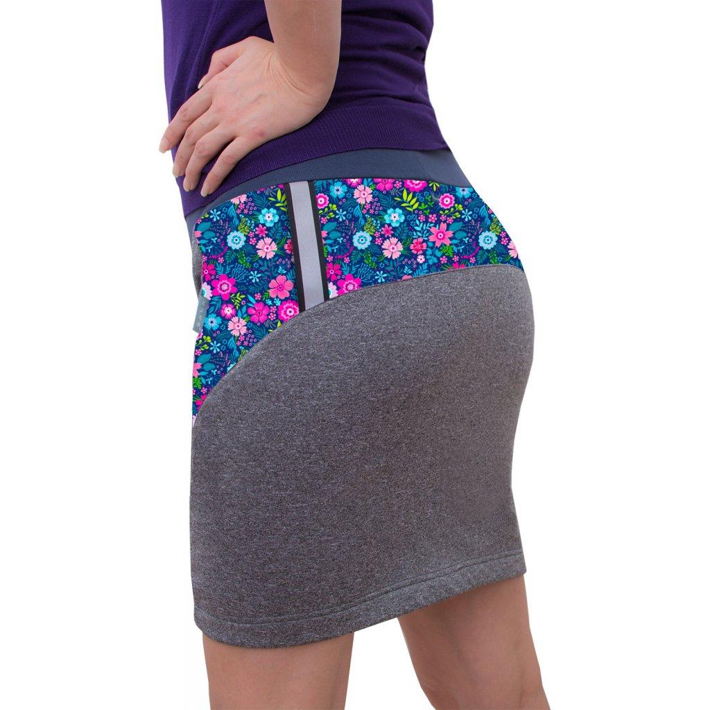 Dámská softshellová sukně UNUO s fleecem Kvetinky
