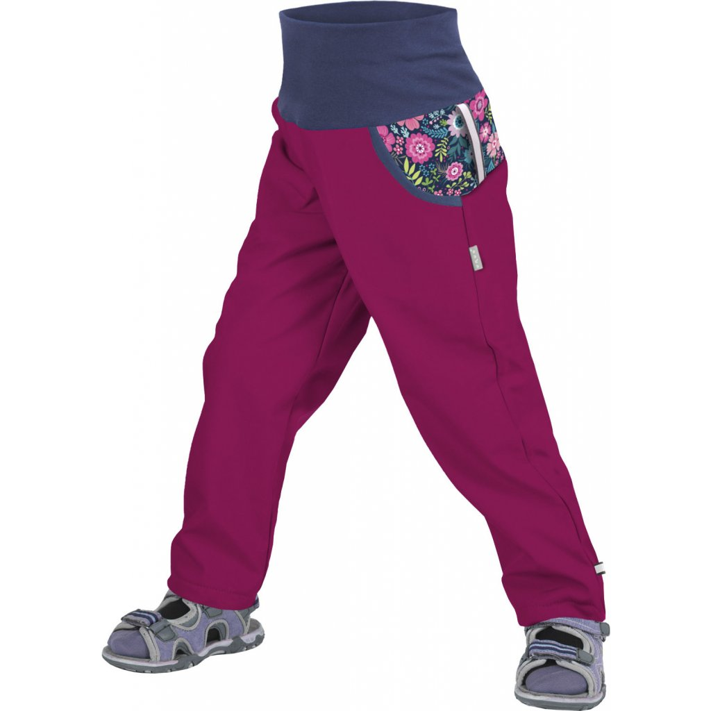 Dětské softshellové kalhoty bez zateplení UNUO Květinky malinové