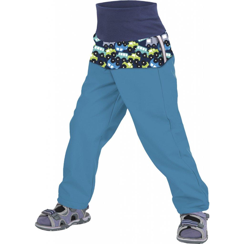 Batolecí softshellové kalhoty UNUO bez zateplení Autíčka aqua