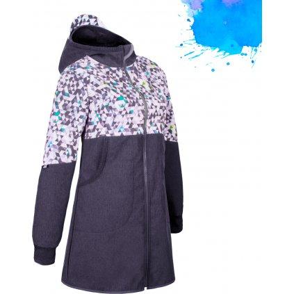 Dámský softshellový kabát UNUO s fleecem, Žíhaná antracitová, Metricon modrá