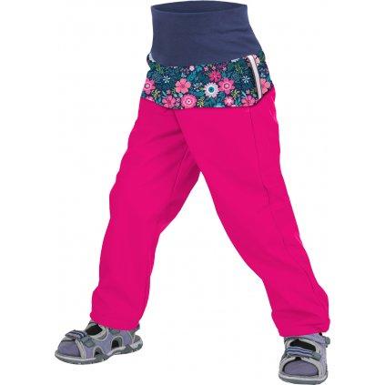 Batolecí softshellové kalhoty UNUO bez zateplení Květinky fuchsiové