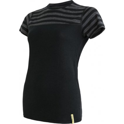SENSOR MERINO ACTIVE dámské triko kr.rukáv černá/šedá pruhy