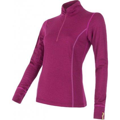Dámské termo tričko SENSOR Merino active fialová zip