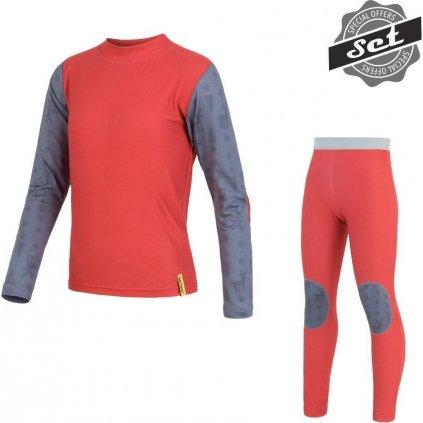SENSOR FLOW SET dětské triko dl.rukáv + spodky červená/sobi