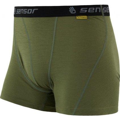 Pánské termo boxerky SENSOR Merino active zelená