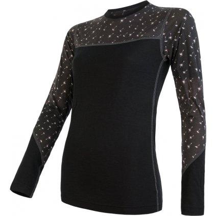 Dámské termo tričko SENSOR Merino impress černá