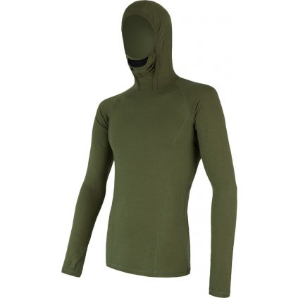 Pánské termo tričko s kapucí SENSOR Merino df zelená