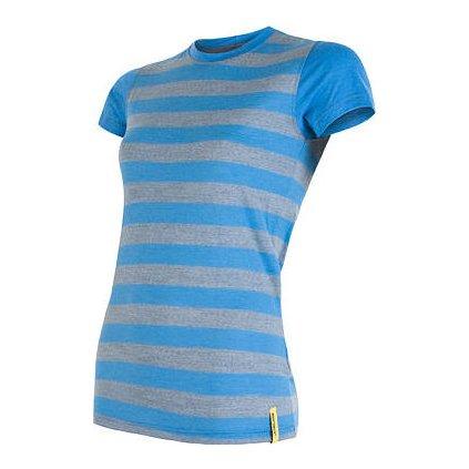 SENSOR MERINO ACTIVE dámské triko kr.rukáv modrá pruhy