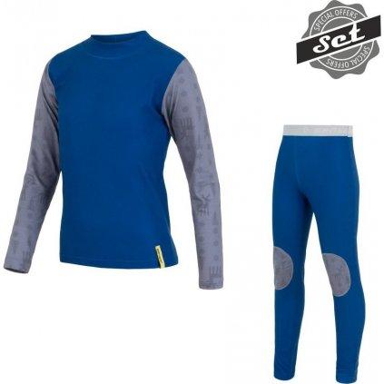 SENSOR FLOW SET dětské triko dl.rukáv + spodky modrá/sobi