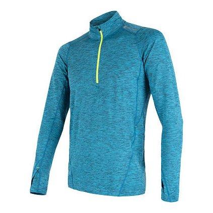 SENSOR MOTION pánské triko dl.rukáv zip modrá