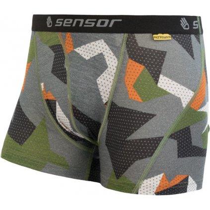 Pánské termo boxerky SENSOR Merino impress zelená