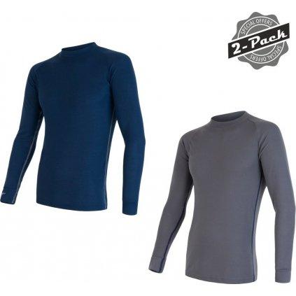 SENSOR ORIGINAL ACTIVE 2-PACK pánský triko dl.rukáv šedá/modrá