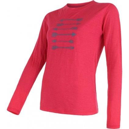 Dámské termo tričko SENSOR Merino active pt arrows růžová