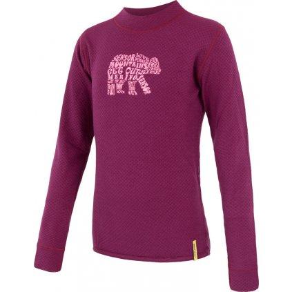 Dětské termo tričko SENSOR Merino df bear fialová