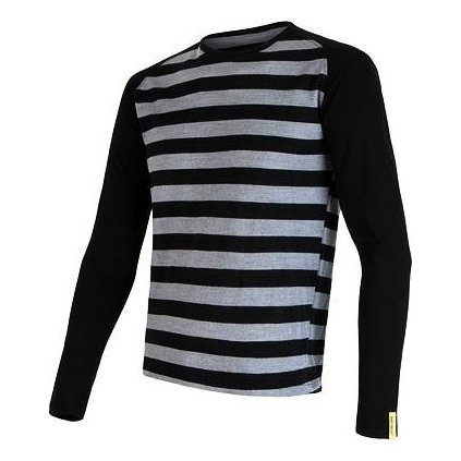 SENSOR MERINO ACTIVE pánské triko dl.rukáv černá pruhy