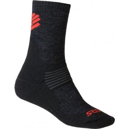 Ponožky SENSOR Expedition merino černá/červená
